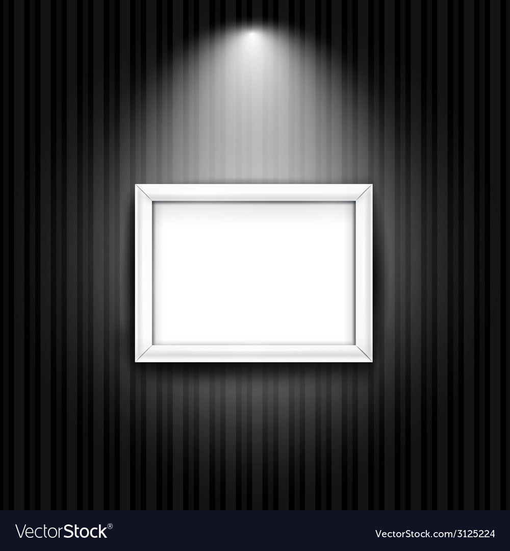 White photo frame on black striped wall background vector | Price: 1 Credit (USD $1)