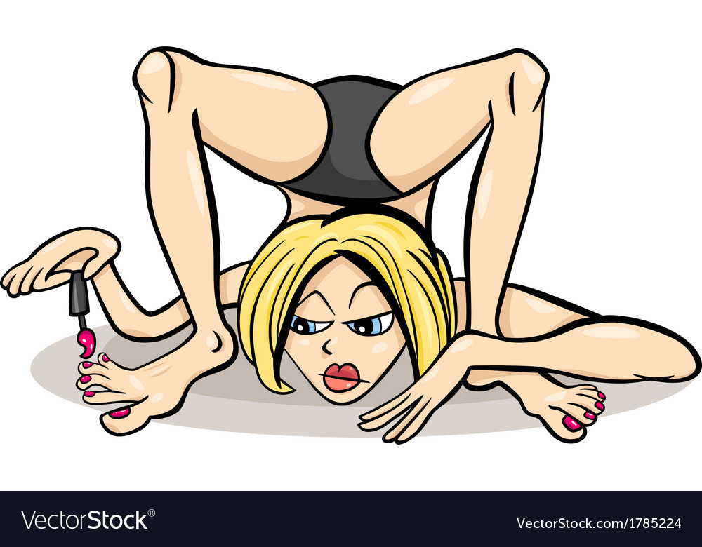 Woman in yoga position humor cartoon vector | Price: 1 Credit (USD $1)