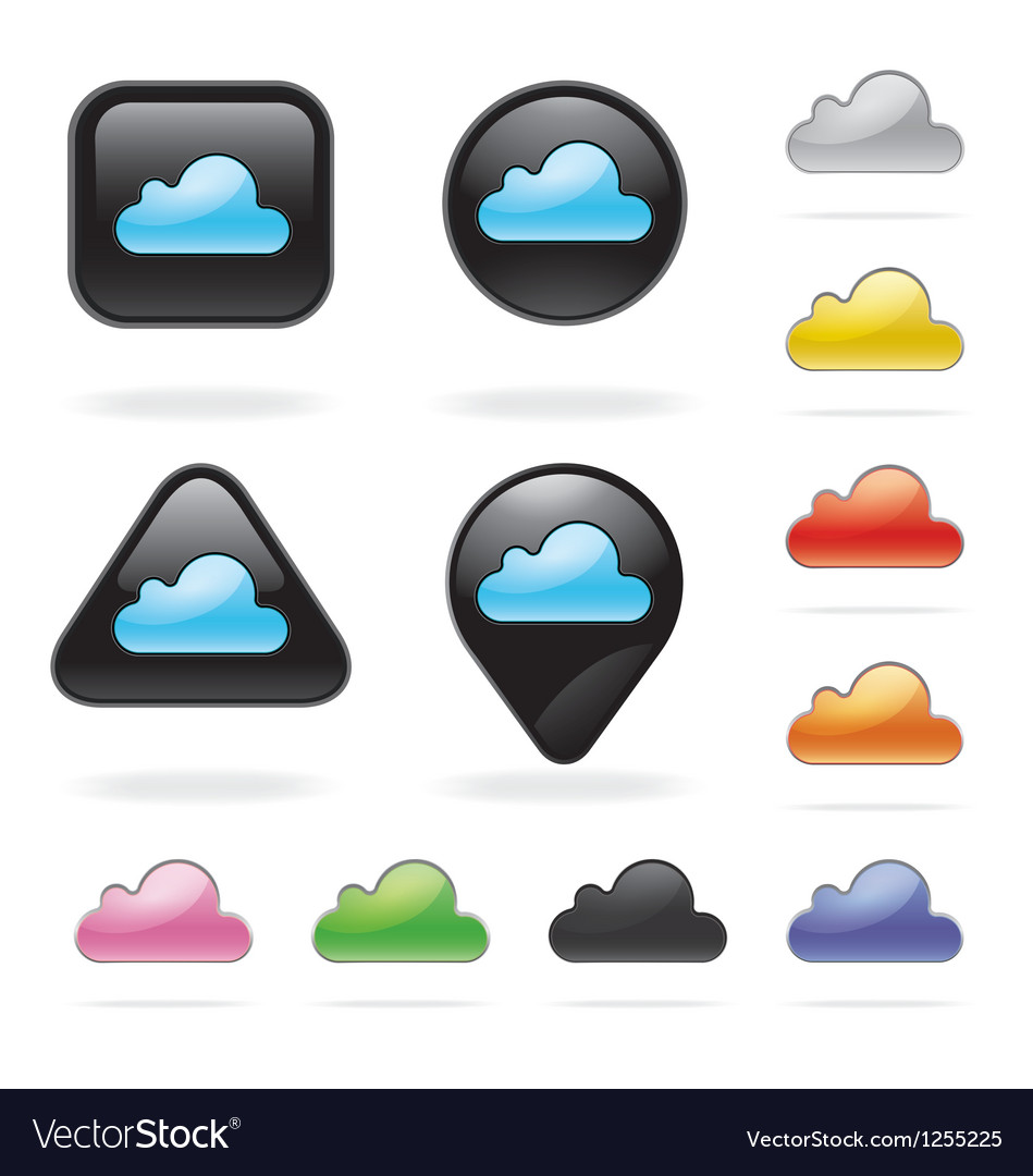 Cloud icon button set for website and app vector | Price: 1 Credit (USD $1)
