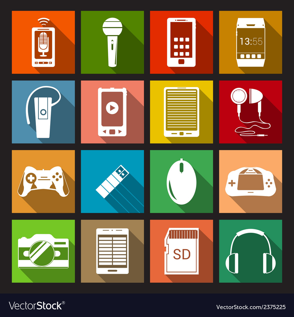 Gadget icons flat vector | Price: 1 Credit (USD $1)