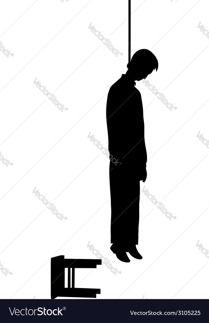 Hanged man silhouette vector | Price: 1 Credit (USD $1)
