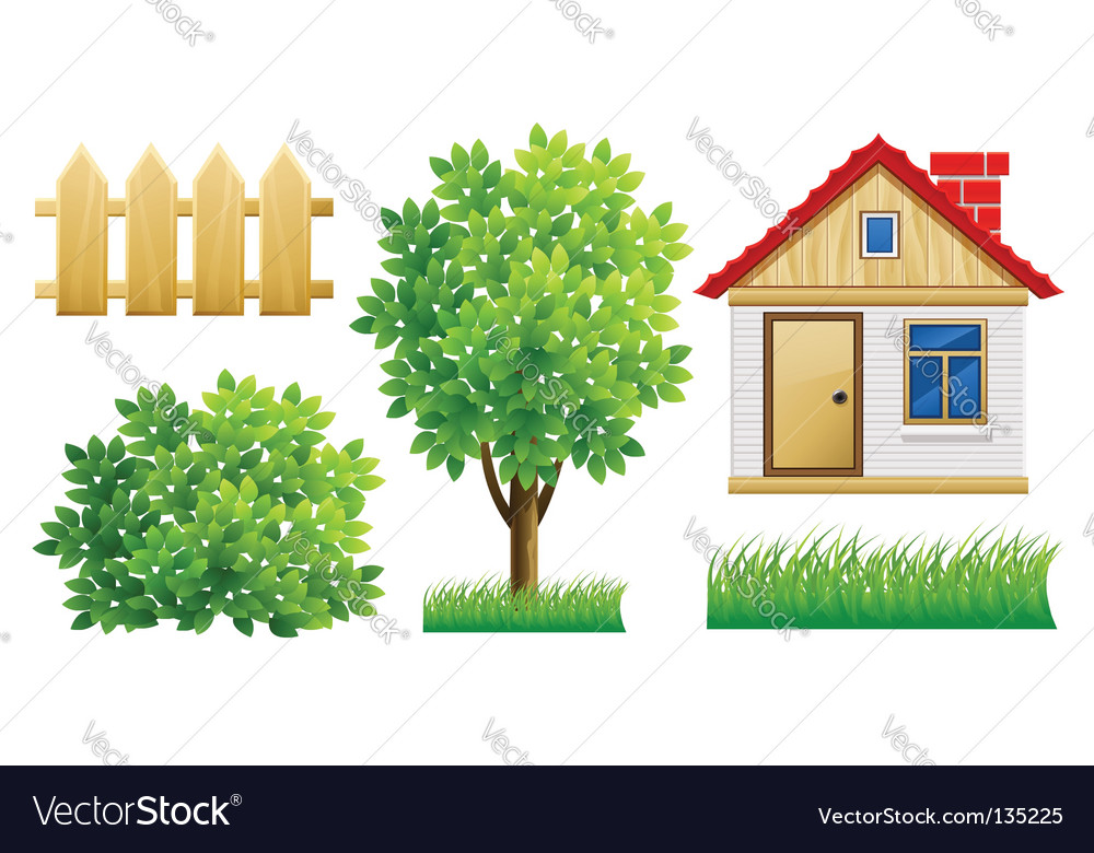 House and fence vector | Price: 1 Credit (USD $1)