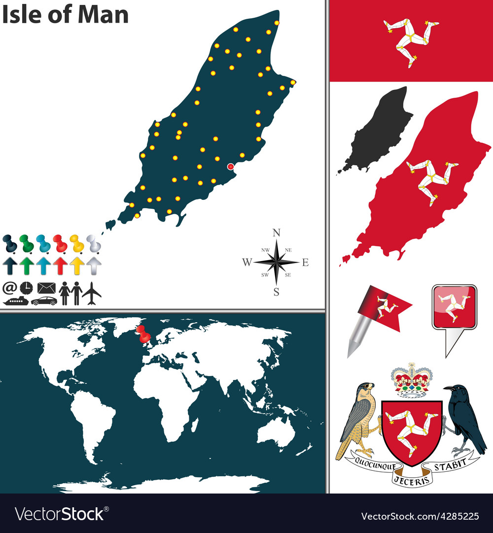 Isle of man map world vector | Price: 1 Credit (USD $1)