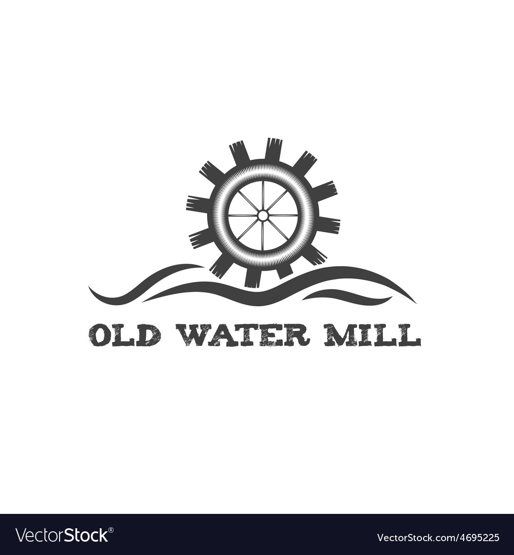 Old water mill vintage vector | Price: 1 Credit (USD $1)