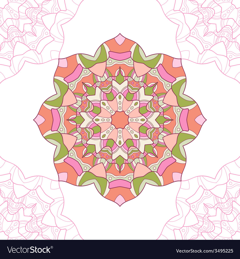 Seamless pattern of mandala circular ornament vector | Price: 1 Credit (USD $1)