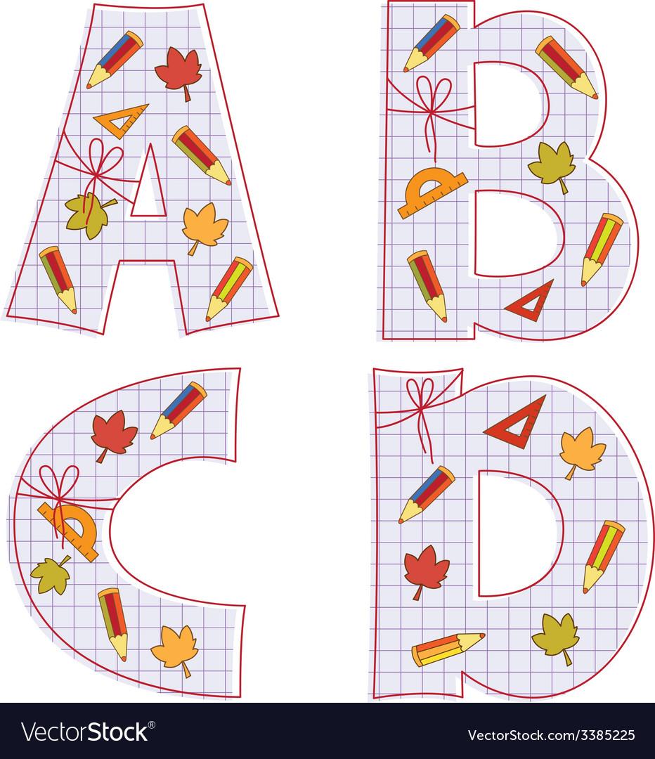 Sheet alphabet letter a b c d vector | Price: 1 Credit (USD $1)