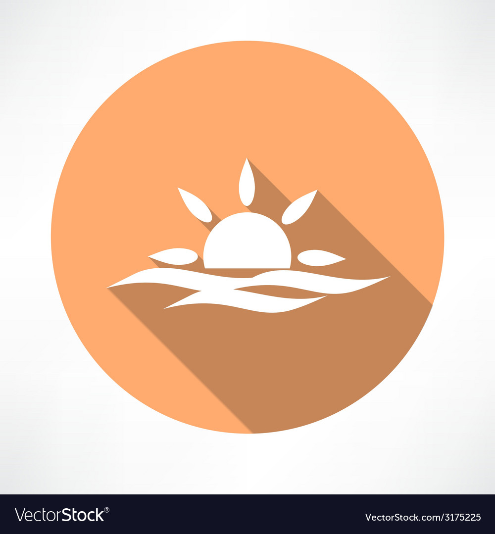 Sunset in the sea icon vector | Price: 1 Credit (USD $1)