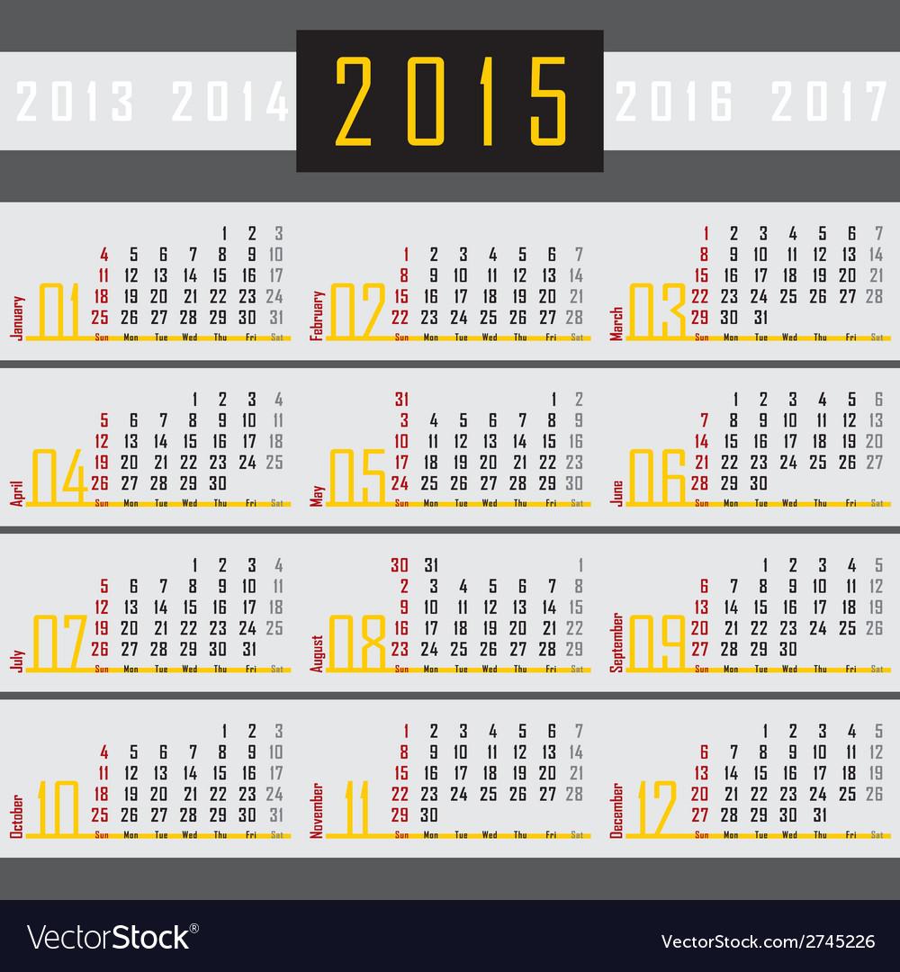 Calendar 2015 1a vector   Price: 1 Credit (USD $1)