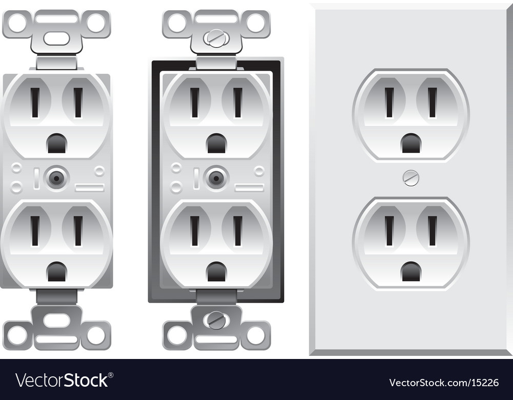Duplex electrical outlet vector | Price: 3 Credit (USD $3)