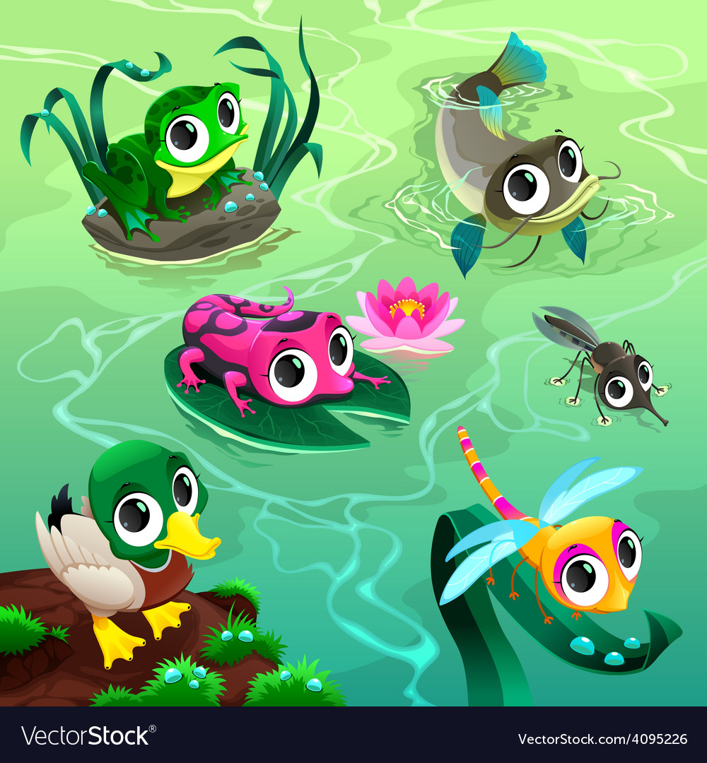 Funny animals in the pond vector | Price: 3 Credit (USD $3)
