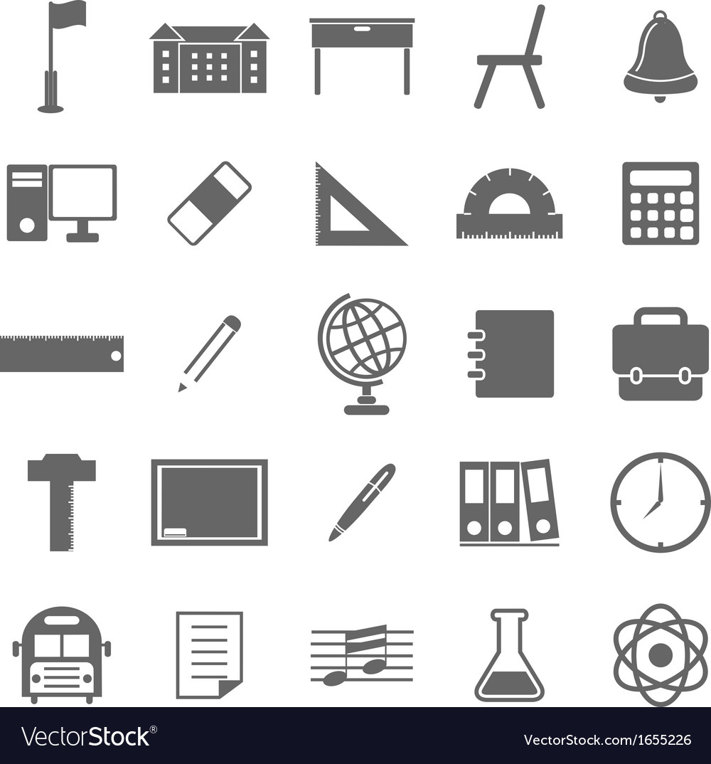 School icons on white background vector | Price: 1 Credit (USD $1)
