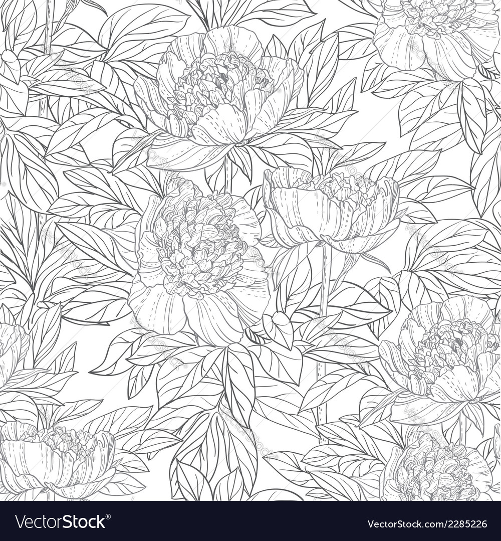 Seamless pattern of flowers peonies black and vector | Price: 1 Credit (USD $1)