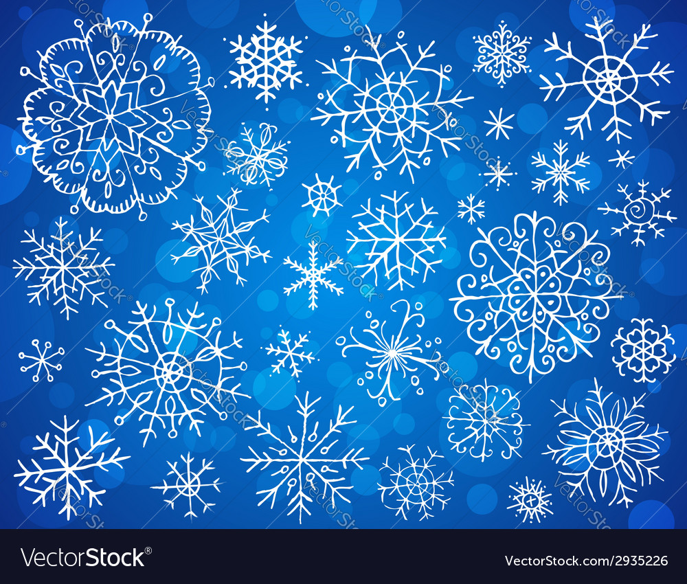 Snowflakes on blue background vector | Price: 1 Credit (USD $1)