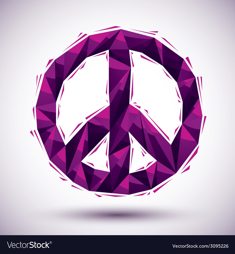 Violet peace geometric icon made in 3d modern vector | Price: 1 Credit (USD $1)
