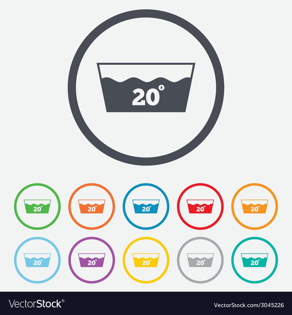 Wash icon machine washable at 20 degrees symbol vector | Price: 1 Credit (USD $1)