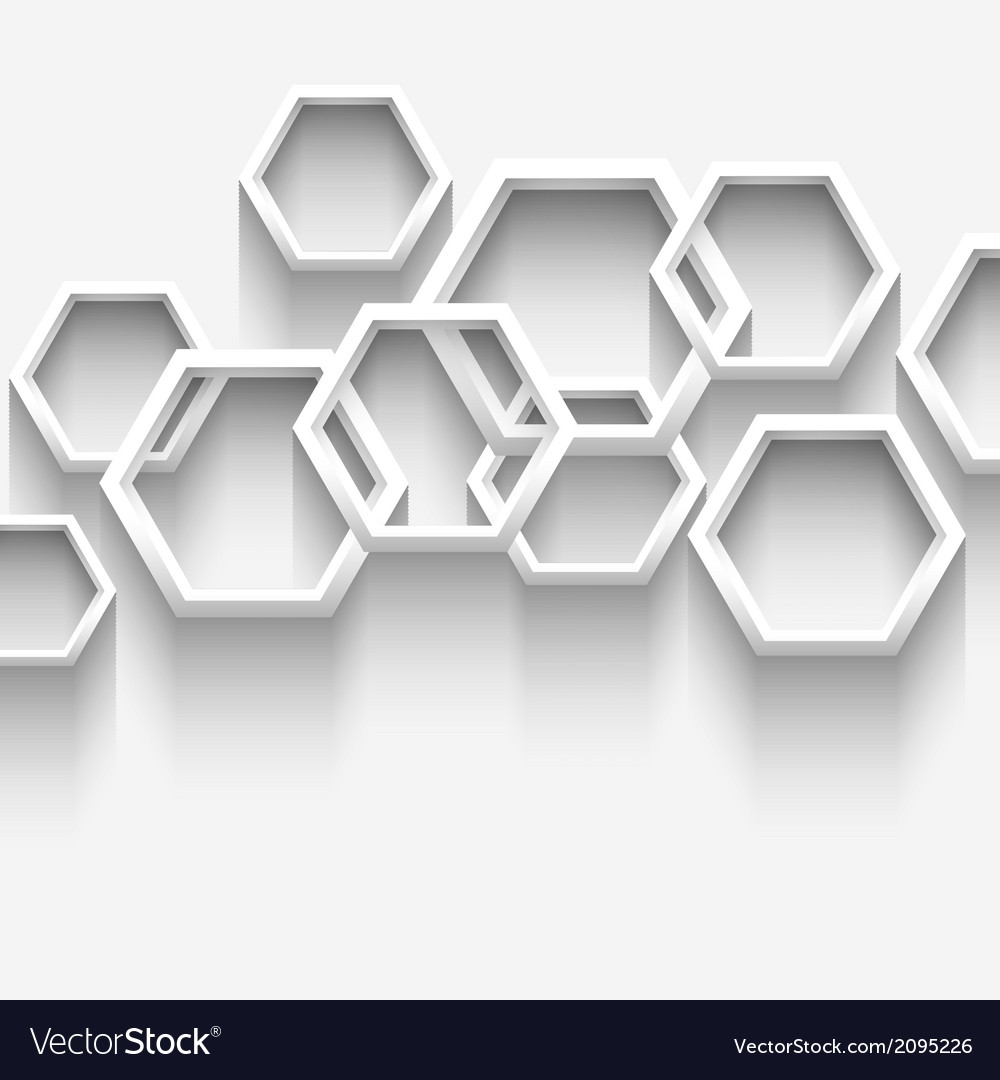 White geometric background with hexagons vector | Price: 1 Credit (USD $1)