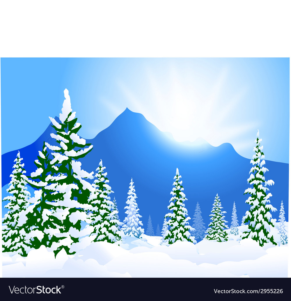 Winter landscape and morning sunshine vector | Price: 1 Credit (USD $1)