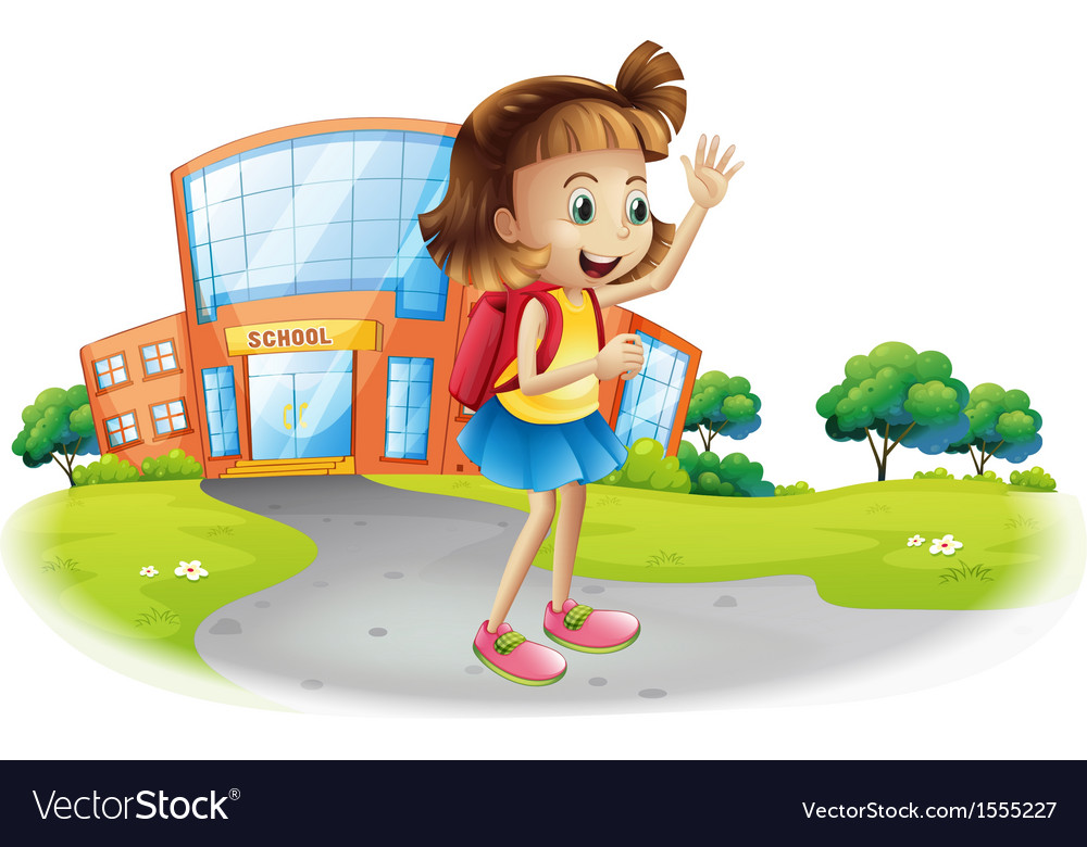 A girl going home from school vector | Price: 3 Credit (USD $3)