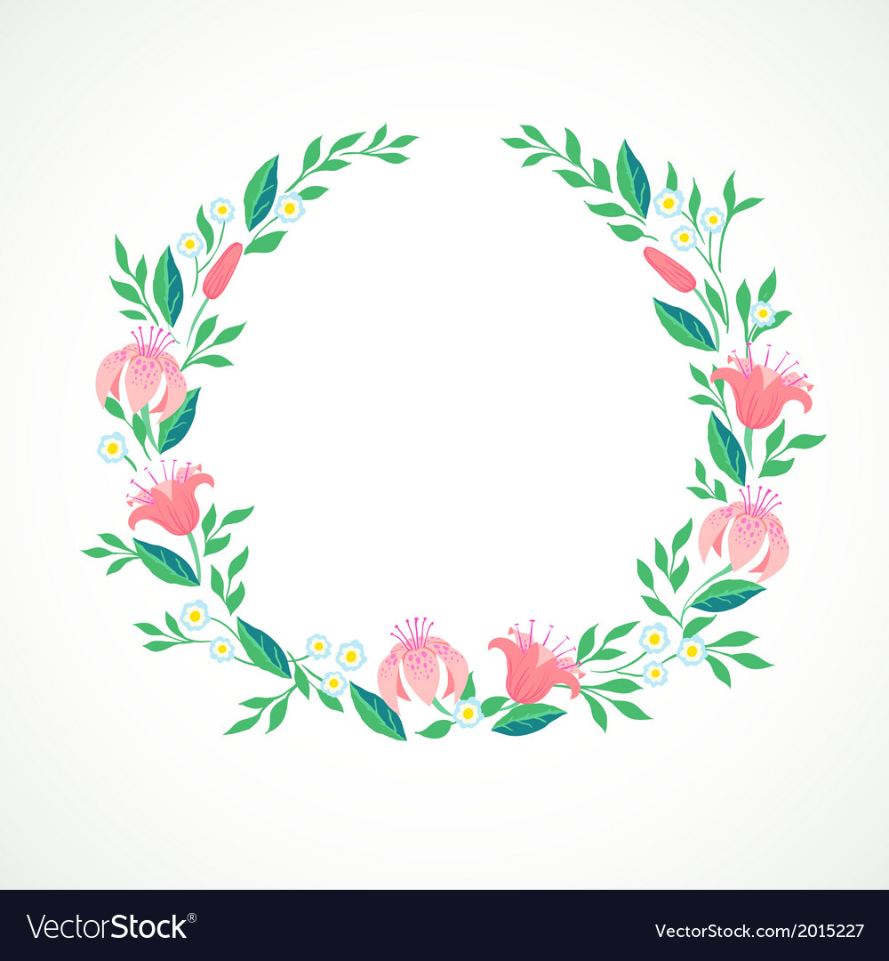 A wreath with flowers vector