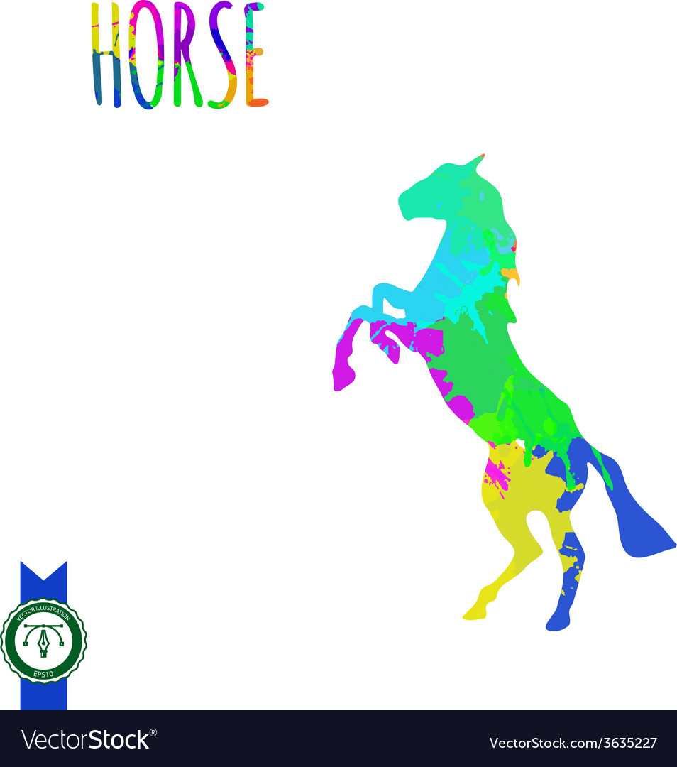 Abstract colorful horse silhouette vector   Price: 1 Credit (USD $1)