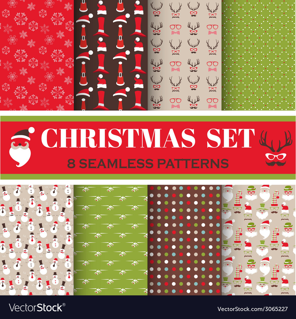 Christmas retro set  8 seamless patterns vector