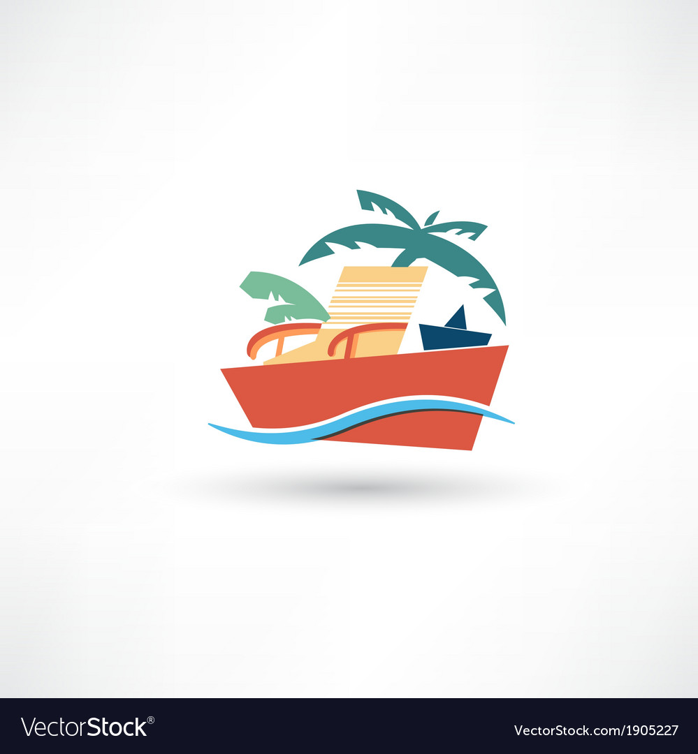 Color beach icon vector | Price: 1 Credit (USD $1)