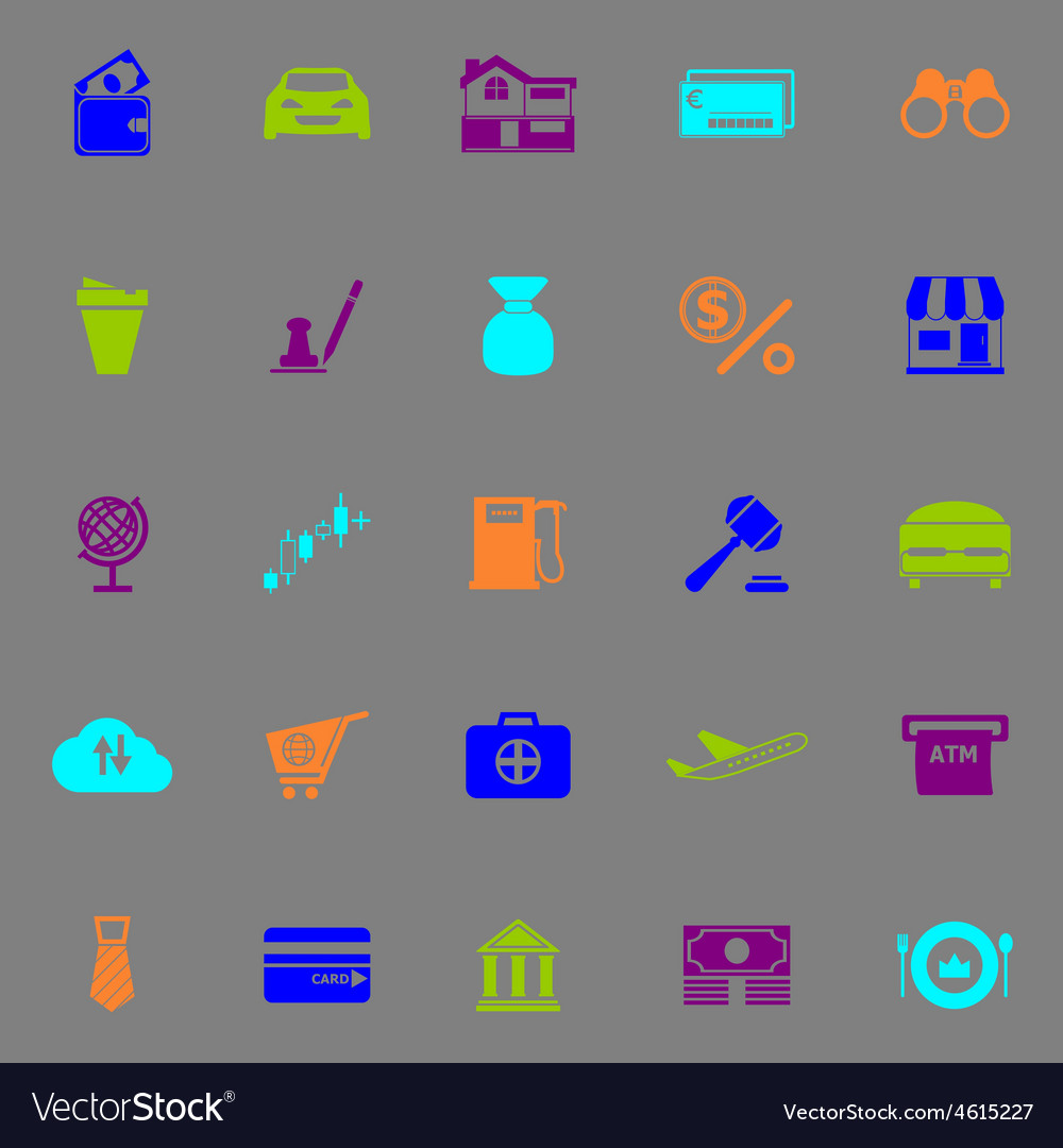 E wallet icons fluorescent color on gray vector | Price: 1 Credit (USD $1)