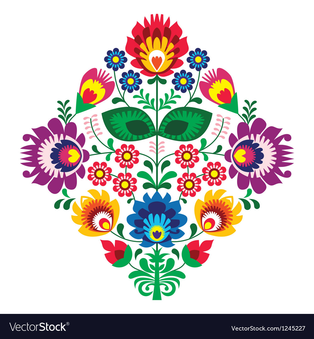 Folk embroidery with flowers - traditional polish vector | Price: 1 Credit (USD $1)