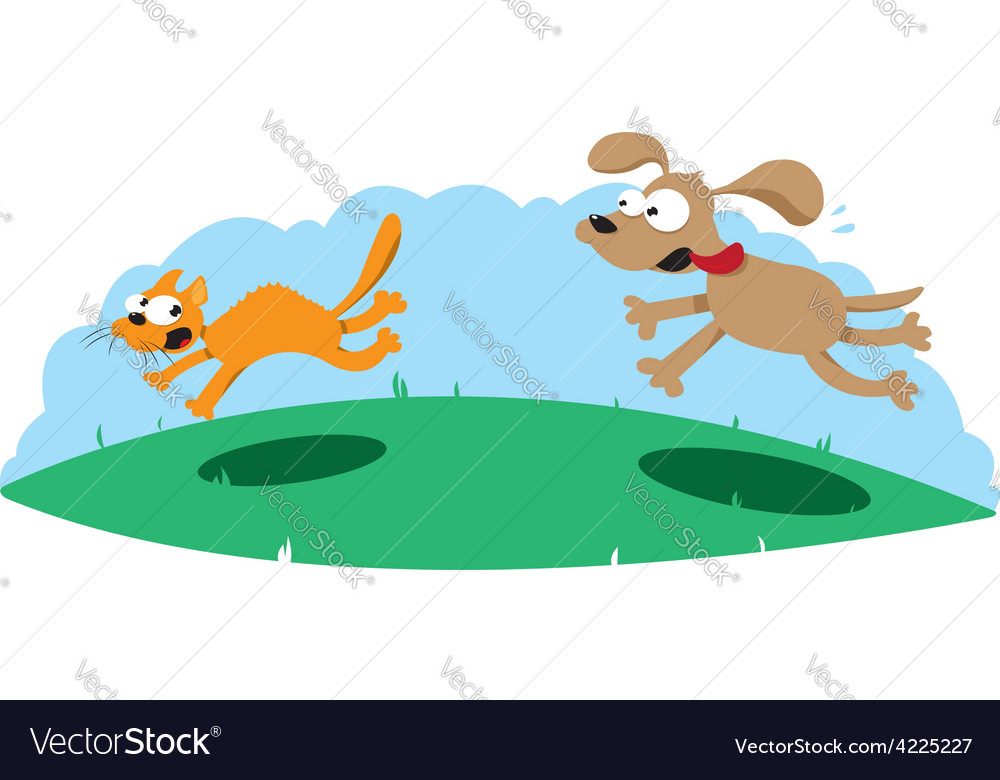 Funny dog hounting a cat vector