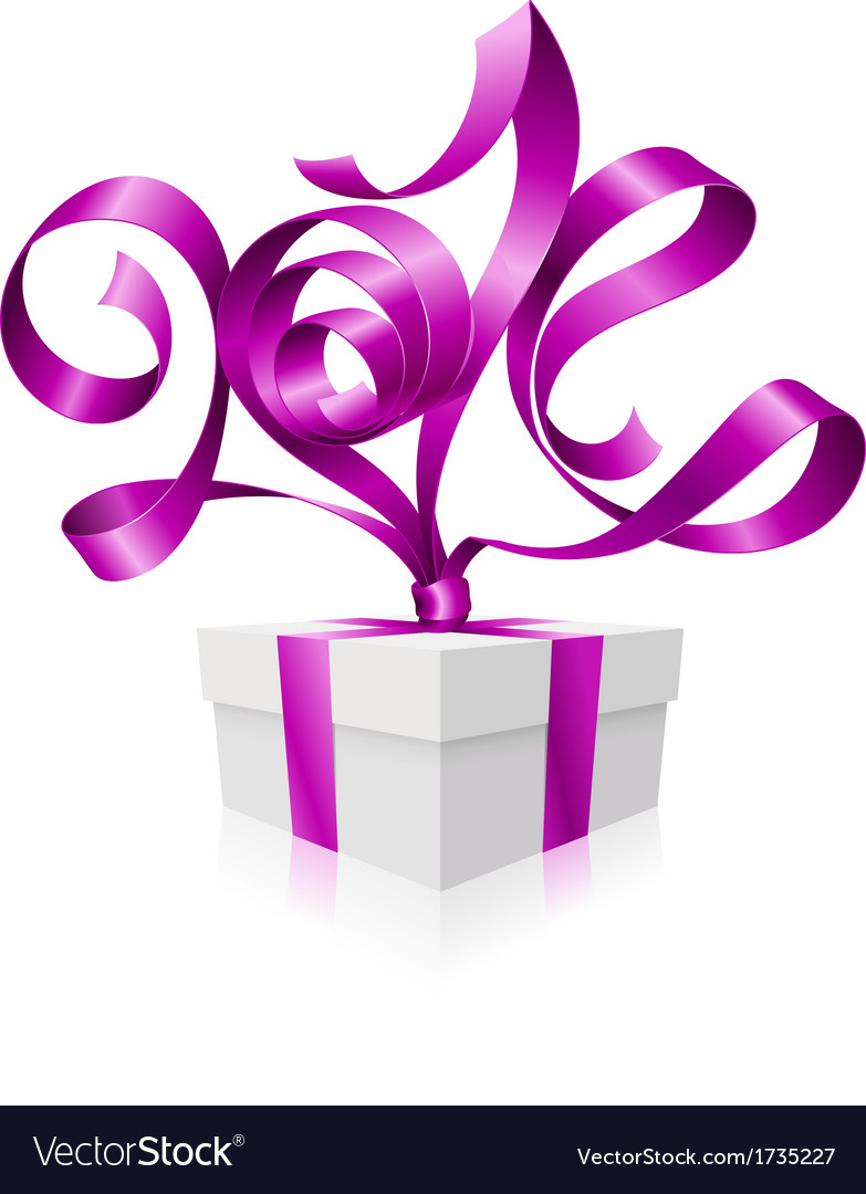 Gift box and purple ribbon in the shape of 2014 vector | Price: 1 Credit (USD $1)