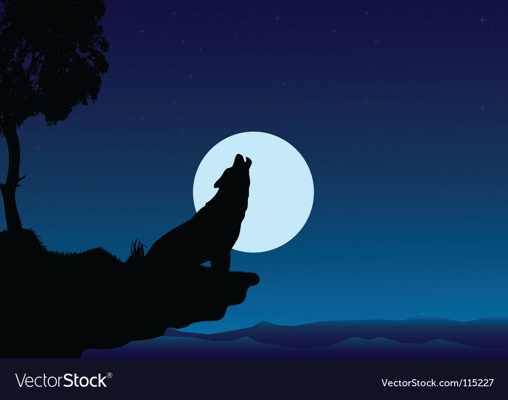 Howling wolf into the night vector | Price: 1 Credit (USD $1)