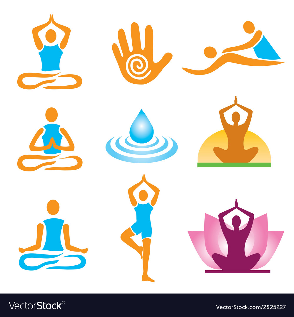 Icons yoga spa massage vector | Price: 1 Credit (USD $1)