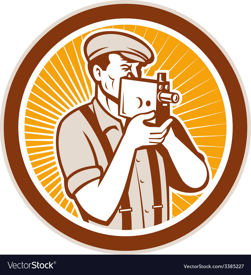 Photographer shooting vintage camera circle vector | Price: 1 Credit (USD $1)