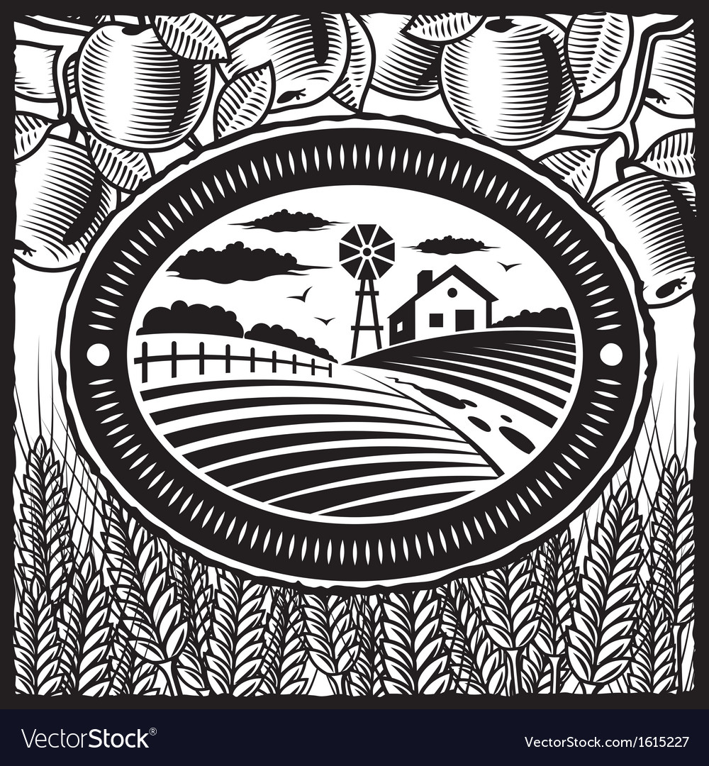 Retro farm black and white vector | Price: 1 Credit (USD $1)