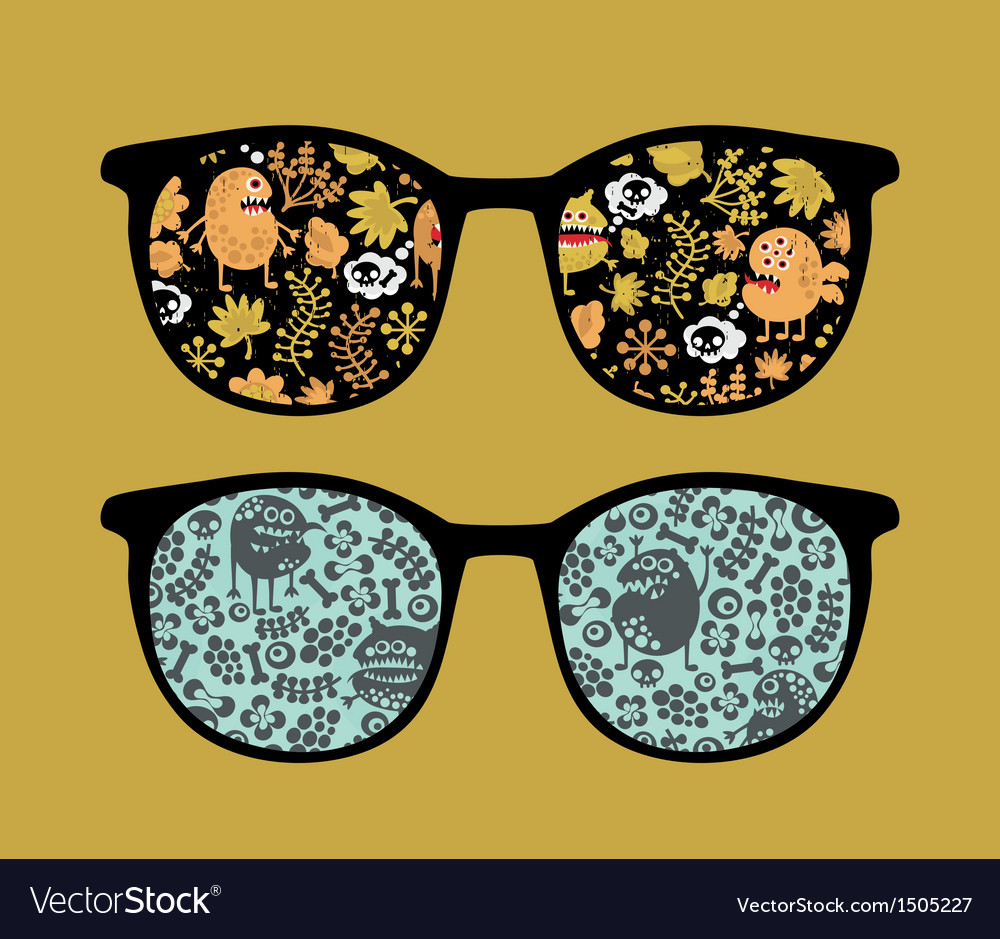 Retro sunglasses with plant monsters reflection vector | Price: 1 Credit (USD $1)