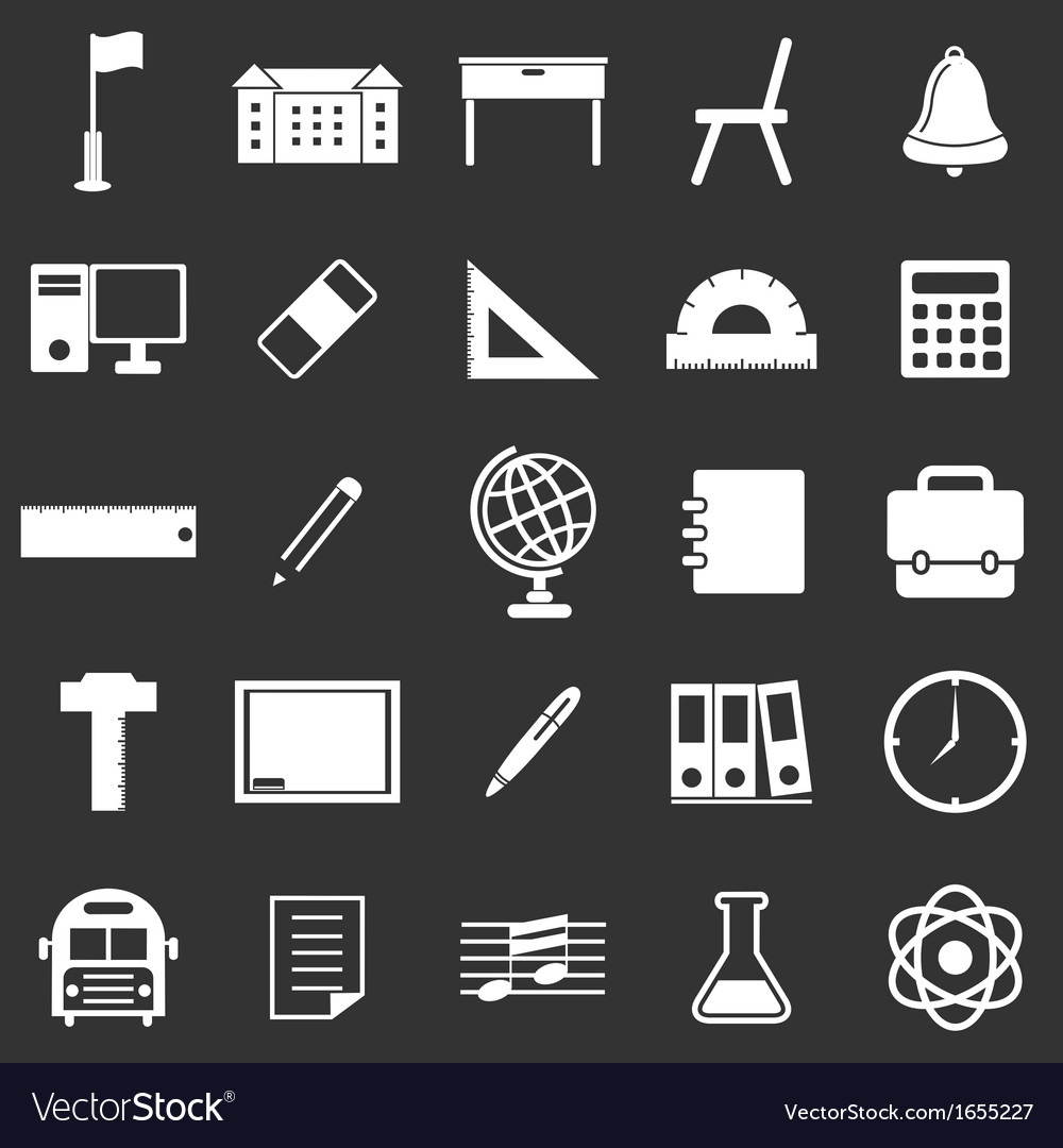School icons on black background vector | Price: 1 Credit (USD $1)