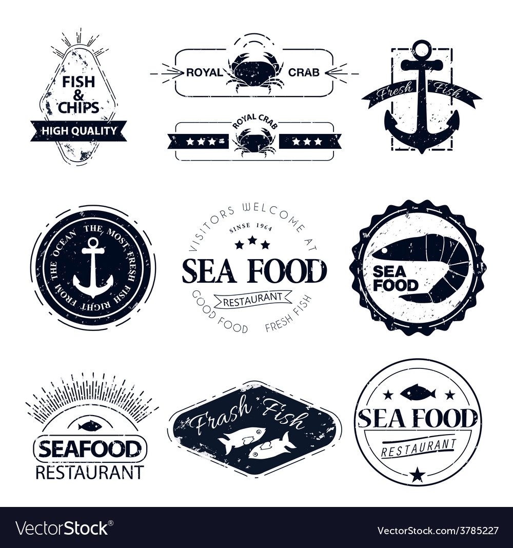 Set of seafood logos crab lobster restaurant vector | Price: 1 Credit (USD $1)