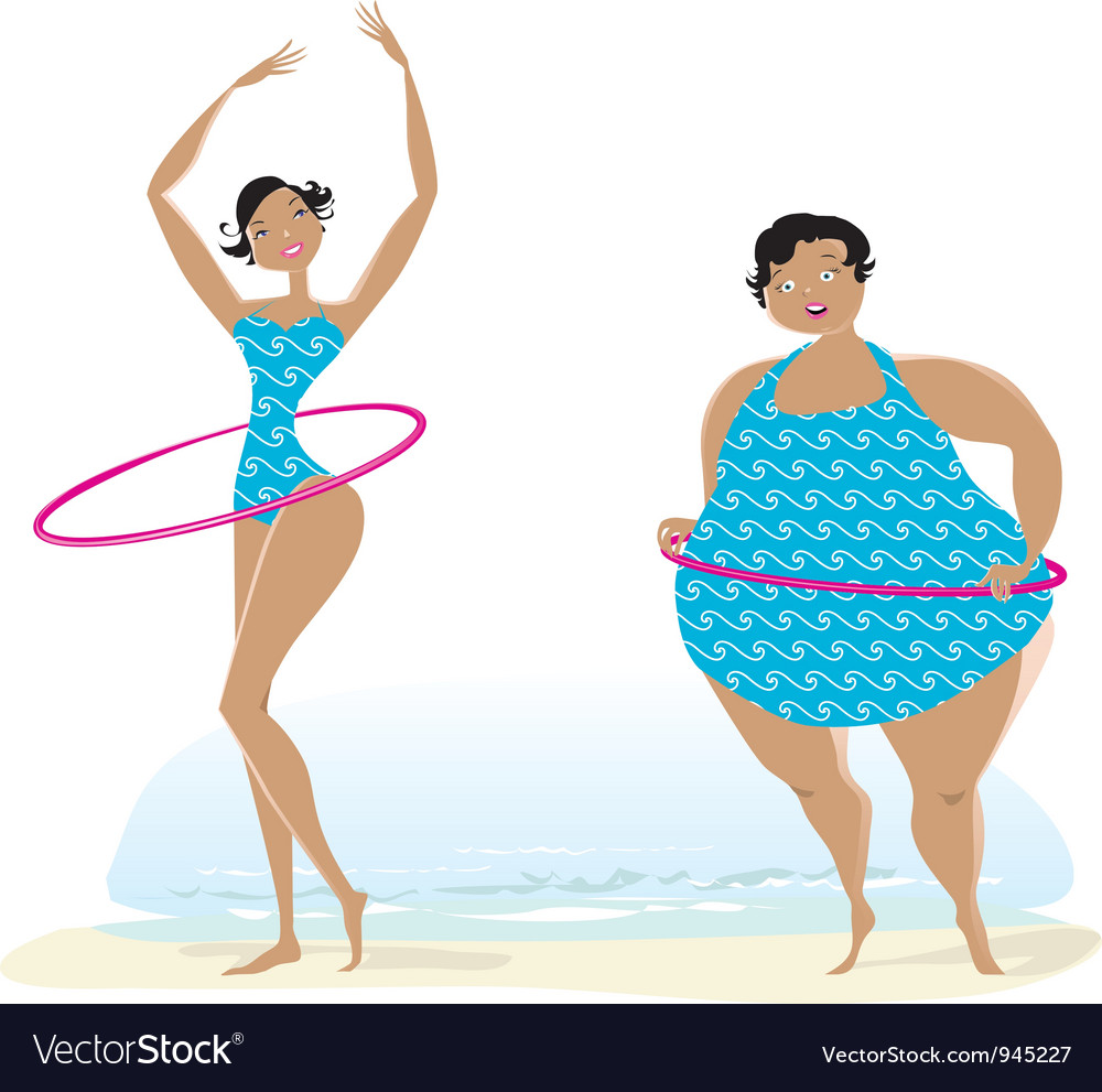Slim anf big girls making exercises vector | Price: 3 Credit (USD $3)