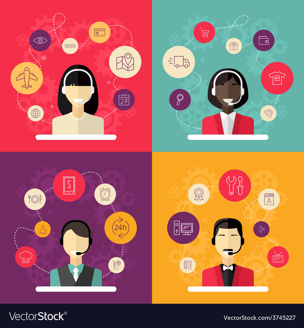 Technical support banners set assistant woman with vector | Price: 1 Credit (USD $1)
