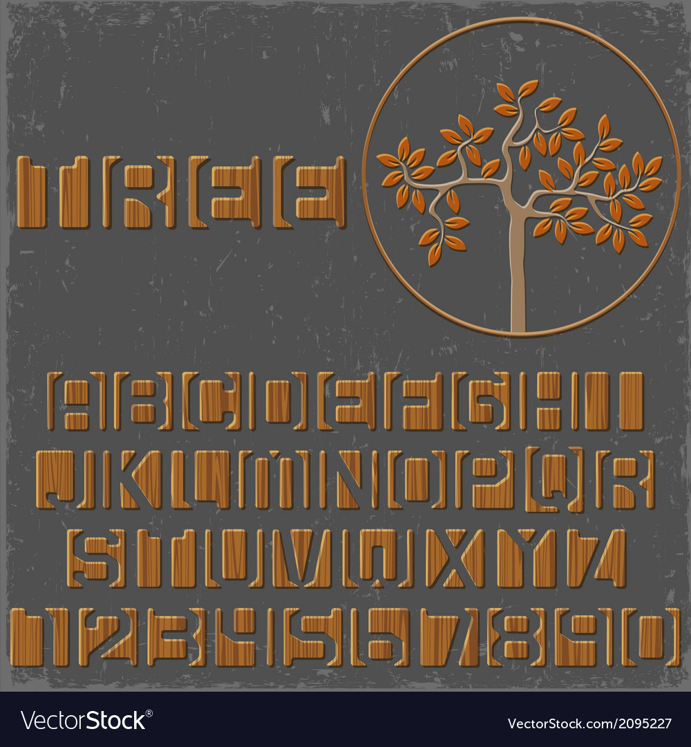 Wooden alphabet letters and numbers vector | Price: 1 Credit (USD $1)
