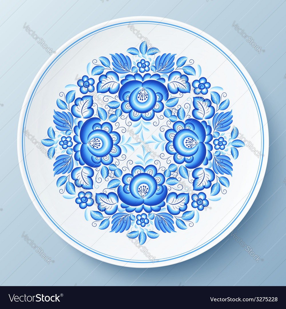 Blue plate with floral ornament vector