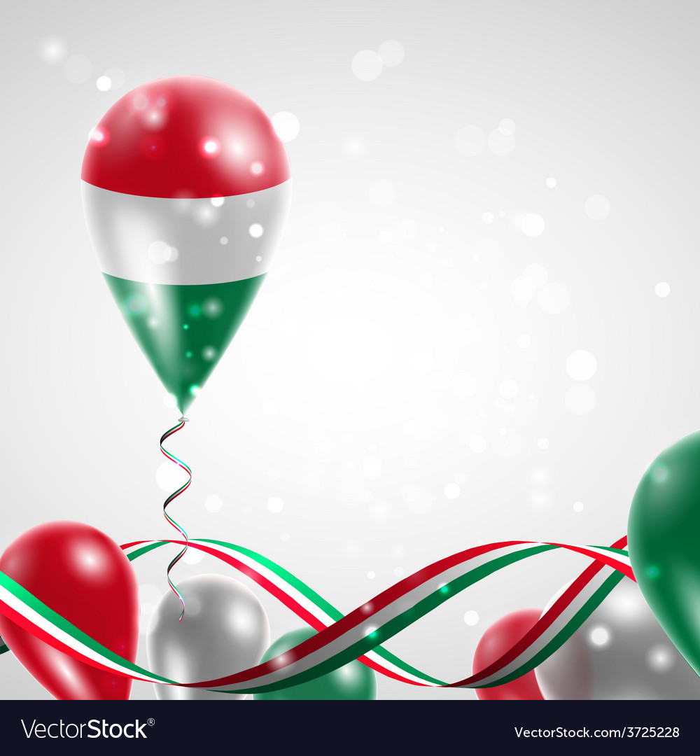 Flag of hungary on balloon vector | Price: 1 Credit (USD $1)
