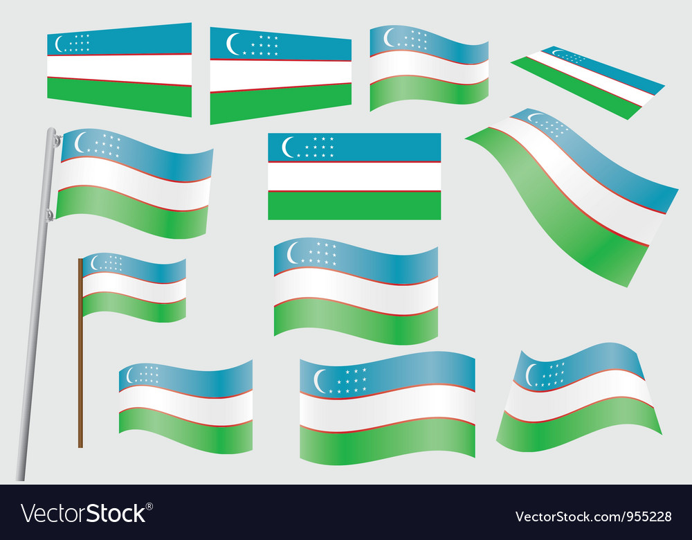 Flag of uzbekistan vector | Price: 1 Credit (USD $1)