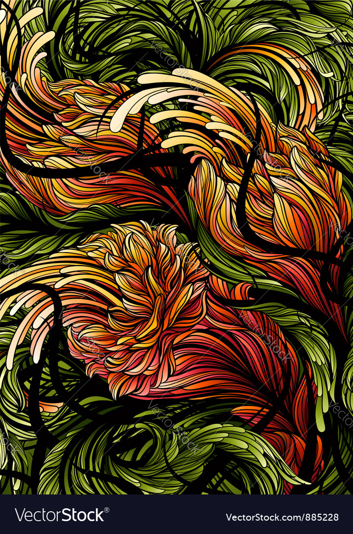 Flowers abstract swirly background vector | Price: 1 Credit (USD $1)