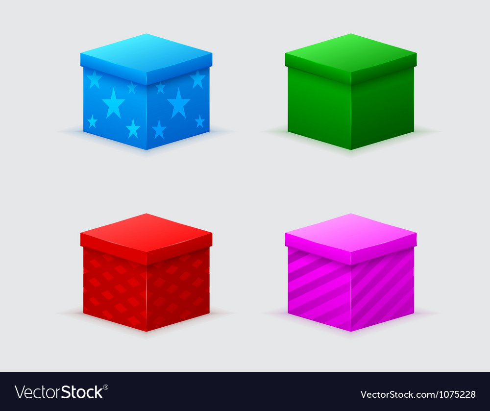 Four closed gift boxes of green blue red pink vector | Price: 1 Credit (USD $1)