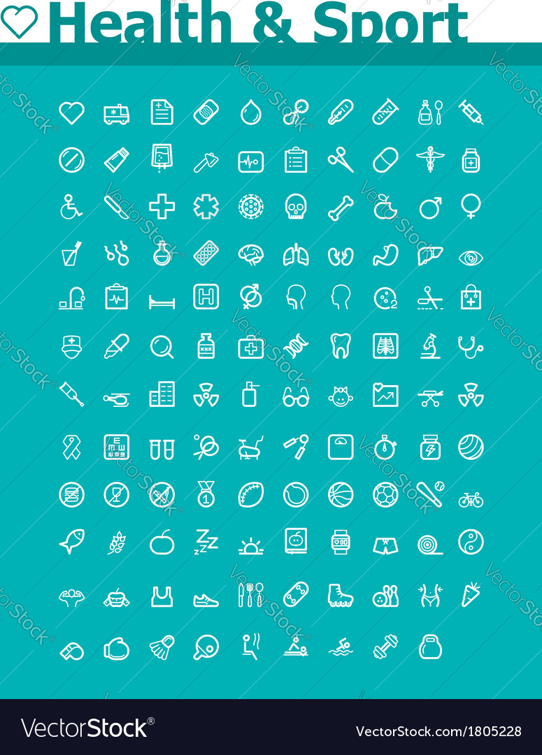 Healthcare and sport icon set vector | Price: 1 Credit (USD $1)