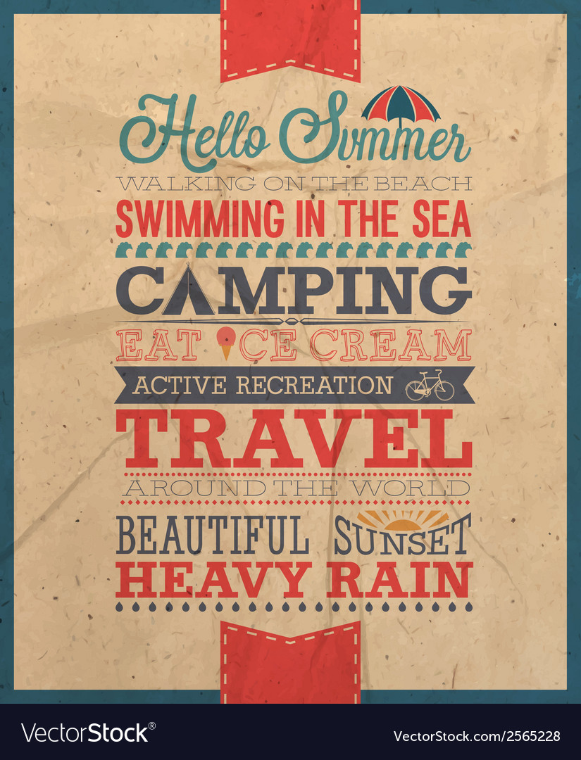 Hello summer text vector | Price: 1 Credit (USD $1)