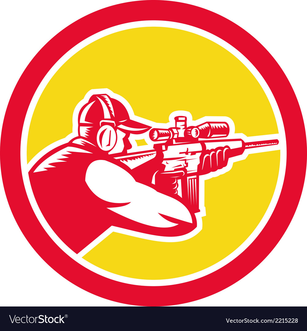 Shooter aiming telescope rifle circle retro vector | Price: 1 Credit (USD $1)