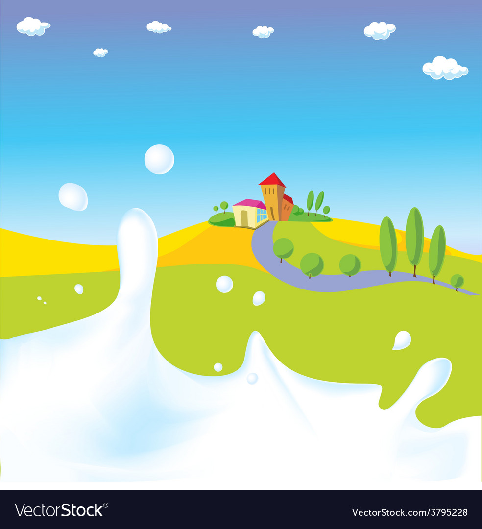 Splash of milk - with green field village a vector | Price: 1 Credit (USD $1)