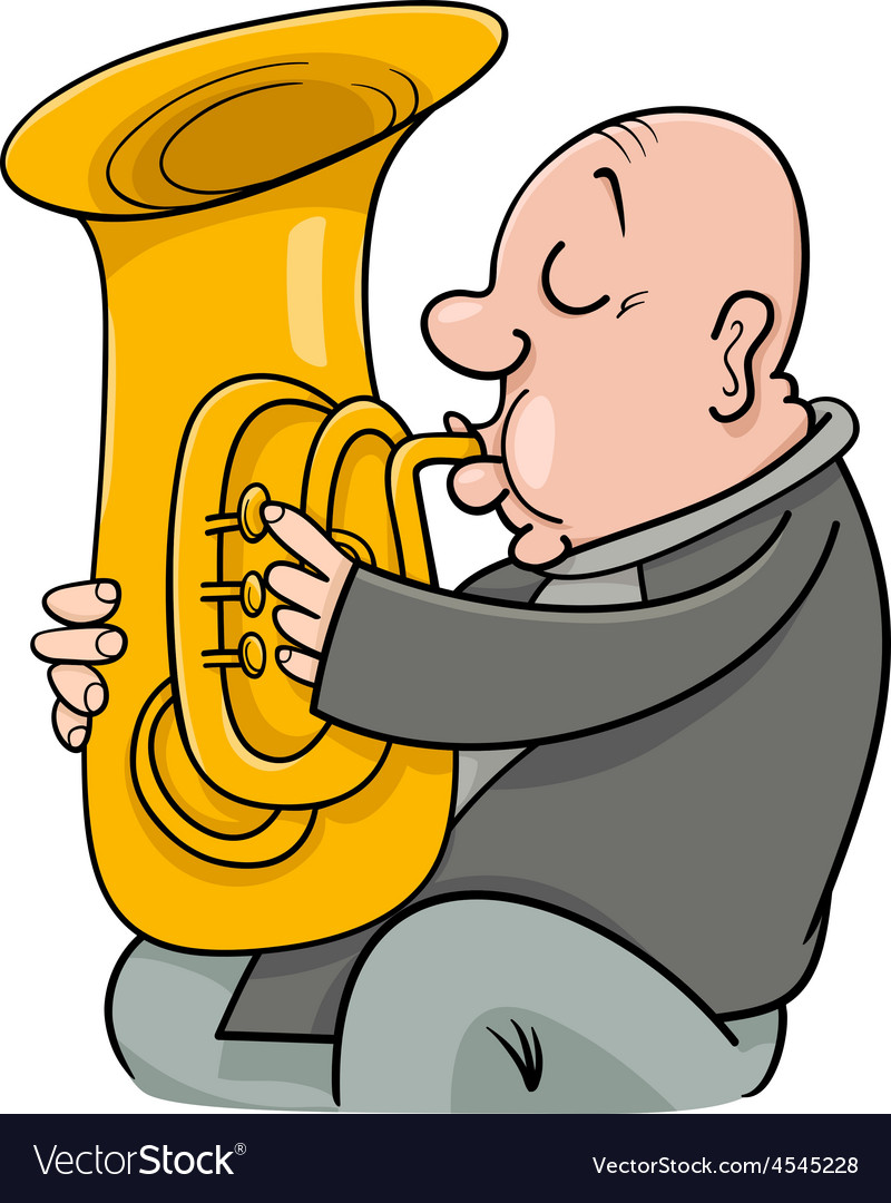 Trumpeter with tuba cartoon vector | Price: 1 Credit (USD $1)